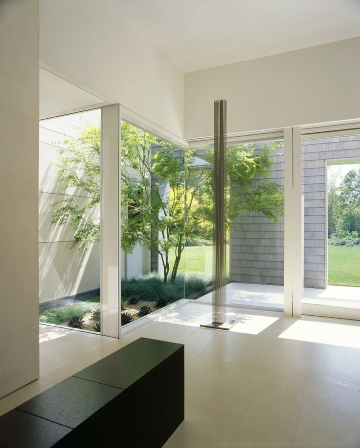 One Level Marin County Residence By Dirk Denison Architects, White House  With Glass Walls And Courtyard _ Love The Garden Inside