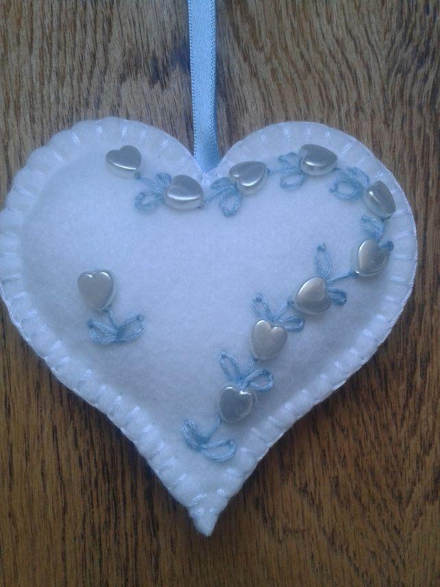 WEDDING........ Handmade Love Heart Shabby Chic ....wedding..gift...something blue ........x