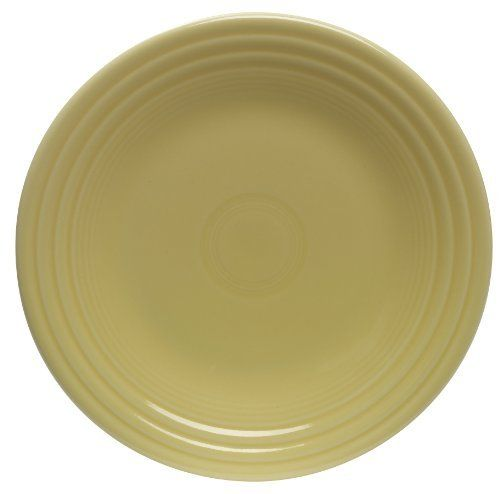 Fiesta 9-Inch Luncheon Plate, Sunflower by Fiesta. $13.99. Includes one luncheon plate. Dishwasher, microwave and oven safe. 5-year chip warranty. Made in the USA since 1936. Fully vitrified china with a lead and cadmium free glaze. Amazon.com                Swing back into the 1940s and 50s with this retro classic 9-inch plate for serving up a stylish lunch. This essential piece for any Fiestaware collection offers a versatile choice for salad or dessert, sandwiches, appeti...