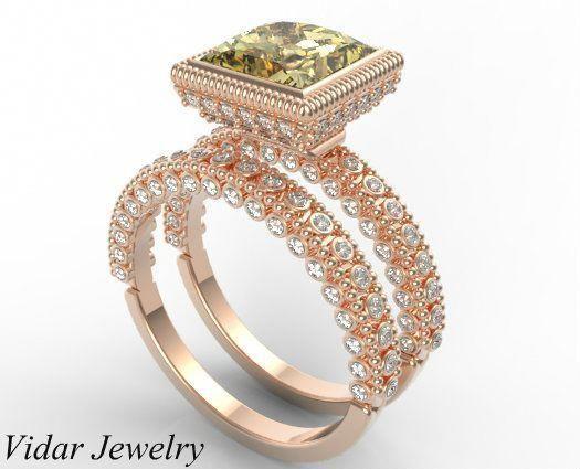 Wedding Ring Set Princess Cut Yellow Sapphire Bridal Ring Set #uniqueweddingrings #weddingring #princesscutrings