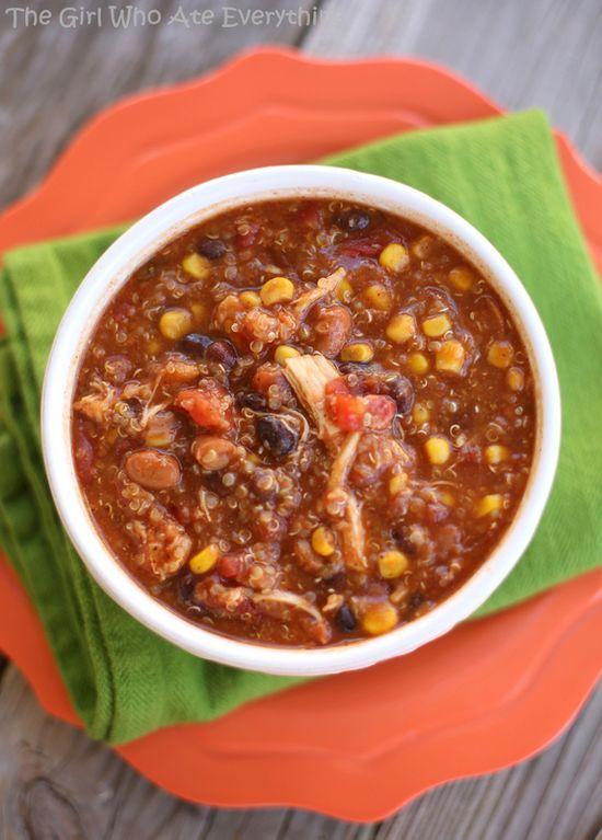 Slow Cooker Quinoa Chicken Chili   Dinner   Pinterest