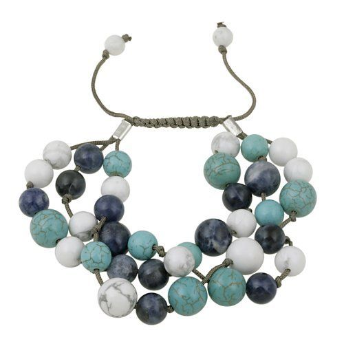 "Three Strand Round Multi-Blue Genuine Stone Beads on Cord Bracelet, 7.5"" Amazon Curated Collection. $14.00. Made in Thailand"