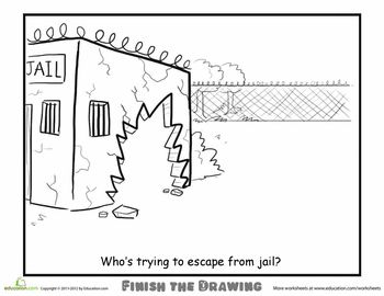 Worksheets: Finish the Drawing: Who's Escaping From Jail?