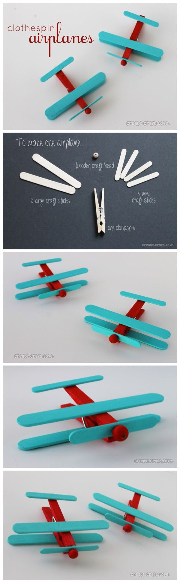 Create craft love - vliegtuigje van knijper en ijsstokje knutselen. Airplanes from clothespins and popsicle sticks