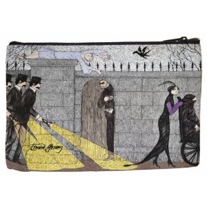 Inspired by the opening title sequence from the 1980 long-running Mystery! Series on PBS?featuring an illustration based on Edward Gorey cartoons depicting amusingly ominous vibes. Express your love for Gorey with this Masterpiece Mystery! cosmetic pouch featuring three investigators?perfect for Gorey fans and Mystery! fans.