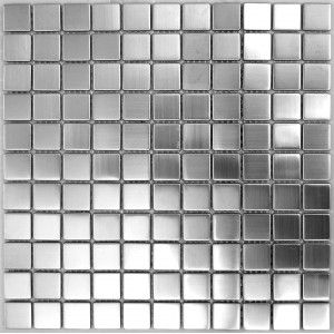 stainless steel tile. Love this idea in a kitchen.