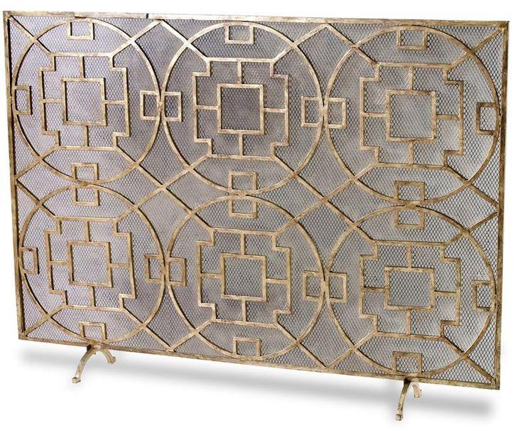 Wrought iron fireplace screen on Custom-Fireplace. Quality ...