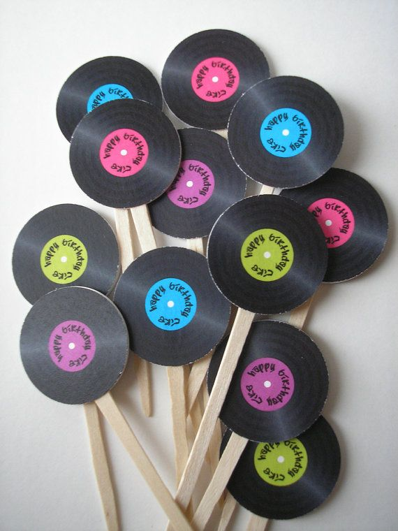 These adorable little record cupcake toppers are the perfect compliment to any party! Great for any music-related event or to coordinate with a 50s, 60s, 70s, or 80s themed gathering. You choose the color for the record label as well as the font and text. Imagine how cute these would be for a wedding with the bride and grooms names!  Print as many as you need, cut them out, then use tape or glue to stick them onto cupcake pokeys!  The records are 1 1/2 in diameter, or use a 1 1/4 diameter…