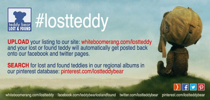 UPLOAD your lost or found teddy to http://whiteboomerang.com/lostteddy and it will auto-post onto our facebook: https://www.facebook.com/TeddyBearLostAndFound and twitter: https://twitter.com/lostteddybear SEARCH our extensive database on pinterest: http://www.pinterest.com/lostteddybear #lostteddy #lostteddybear