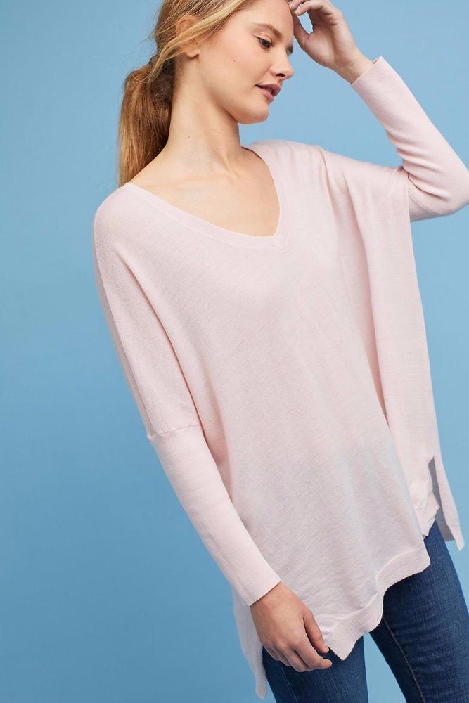 NWT Anthropologie Moth Clare V-Neck Merino Wool Pink Sweater Tunic - Medium  | eBay #anthropologie #merino #luxefashionfinds