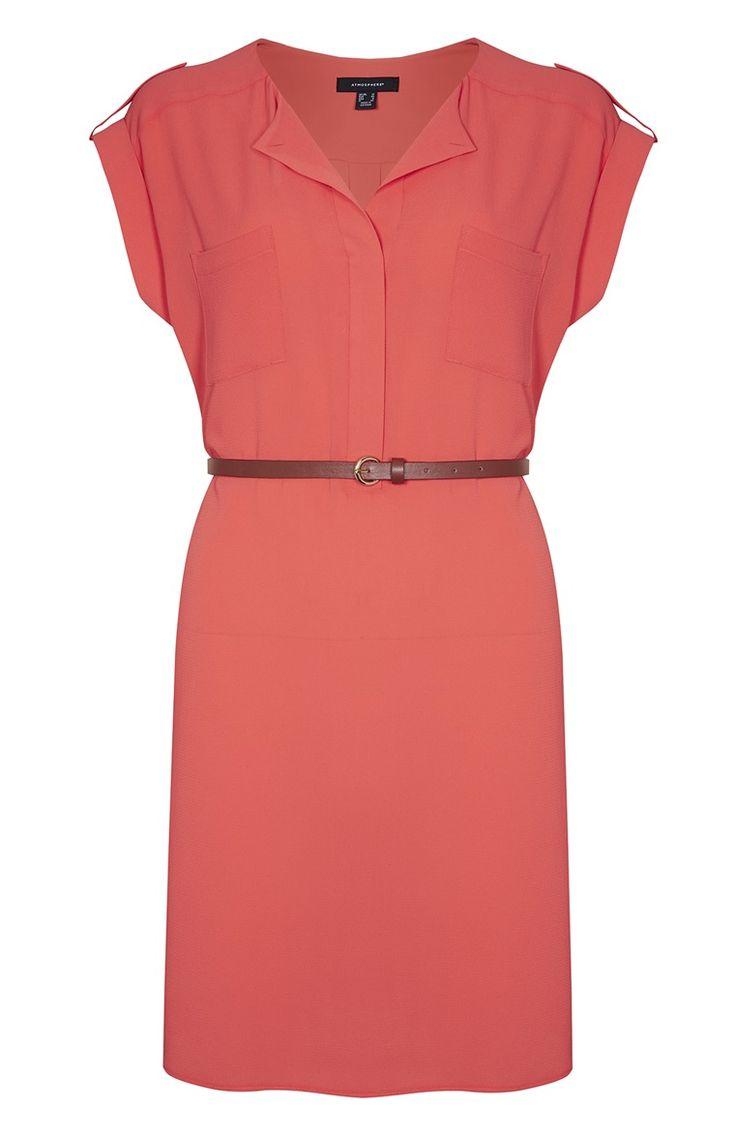 Primark - Vestido camisero de crepé color coral 16e