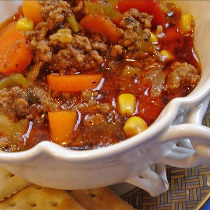 Hearty Hamburger Soup I added a few sprinkles of hot sauce and a bottle of spicy v8 juice for a little extra kick.