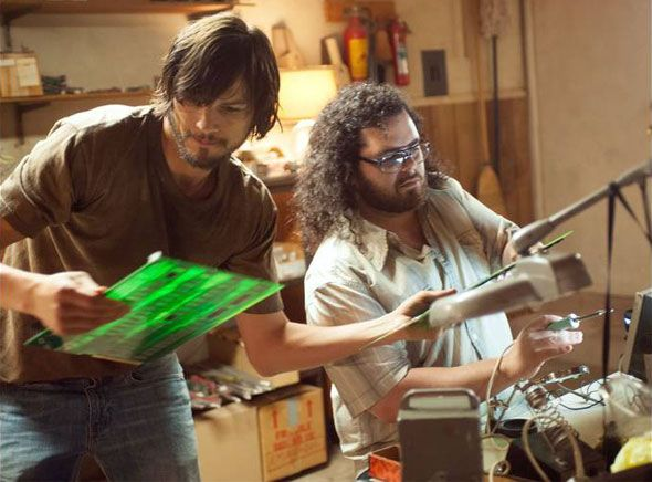 """Jobs"", Ashton Kutcher and Josh Gad building the Apple 1 in Steve's garage. / #thejobsmovie"