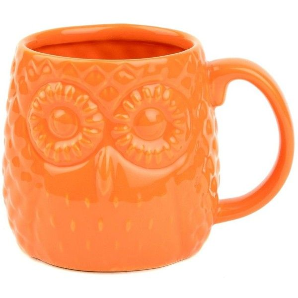 Orange Embossed Ceramic Owl Mug ($4.99) ❤ liked on Polyvore featuring home, kitchen & dining, drinkware, filler, glazed mugs, owl mug, dishwasher safe mugs, face mug and orange mugs