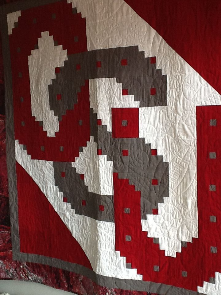 Ohio State fans here is a quilt pattern for you! Come in the ohio store to see this fan favorite~patterns available for other schools also!