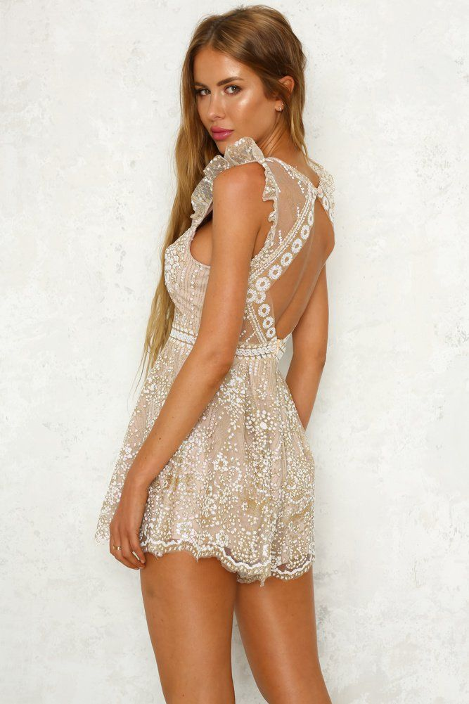 3106ec8b0e4 Stars In Space Playsuit Champagne