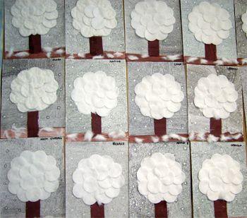 Zimní strom z vatových tampónků