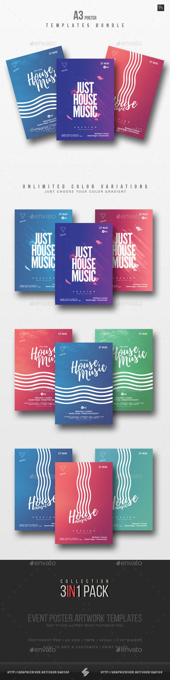 Creative Party Flyers Collection – Pack of 3 creative A3 size posters / flyers for different styles of music parties, events or sessions like deep house, progressive, electro, house music, dubstep, chillout, electronica, lounge, tech-house, techno, chillstep, minimal, nudisco and other DJs summer parties.