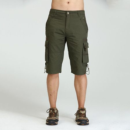 Men Military Design Shorts, Cargo Shorts Army Green With Pockets Size 29-40