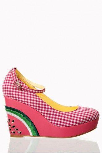 Dancing Days 50s Kora Gingham Melon Wedges Watermeloen sleehakken roze bb ruitjes