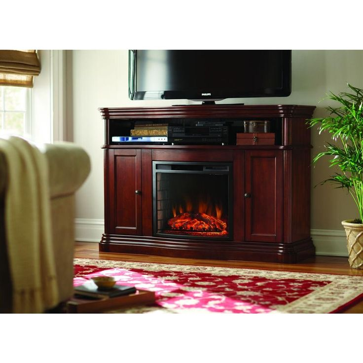 Home Decorators Collection Montero 56 In Media Console Infrared Electric Fireplace In Mahogany
