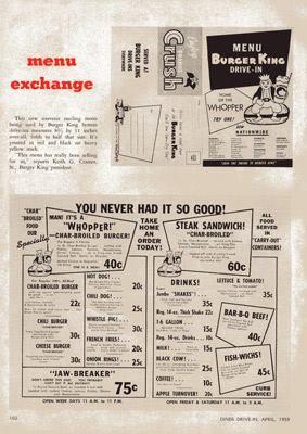 Burger King Vintage Menu.  c1959
