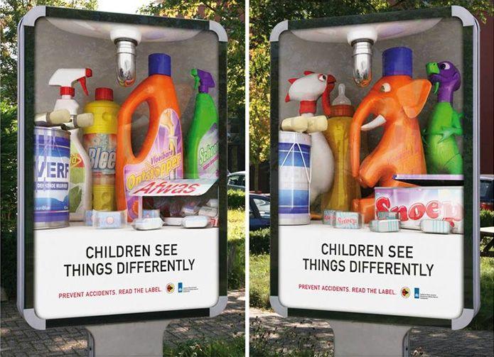 Dzieci inaczej widzą niektóre rzeczy, reklama powstała za pomocą stereogramu soczewkowego.
