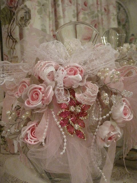 Ribbon rose bottle...ribbon, pearl bead ribbon, tulle, lace, and decorative pin!!
