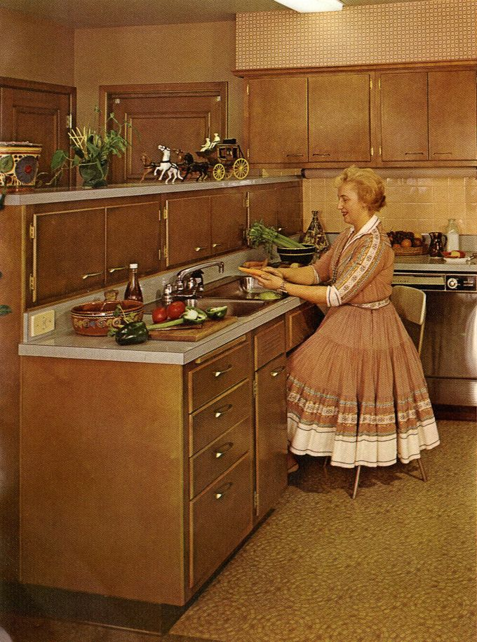 1960s Kitchens New With Vintage Wood Mode Kitchen Cabinets Picture