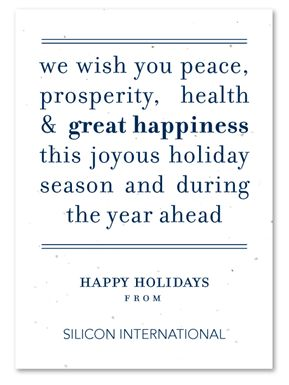 Plantable Corporate holiday cards on seeded paper ~ Peace Message by Green Business Print. Send your message of peace. Use these words or customize it with your very own!