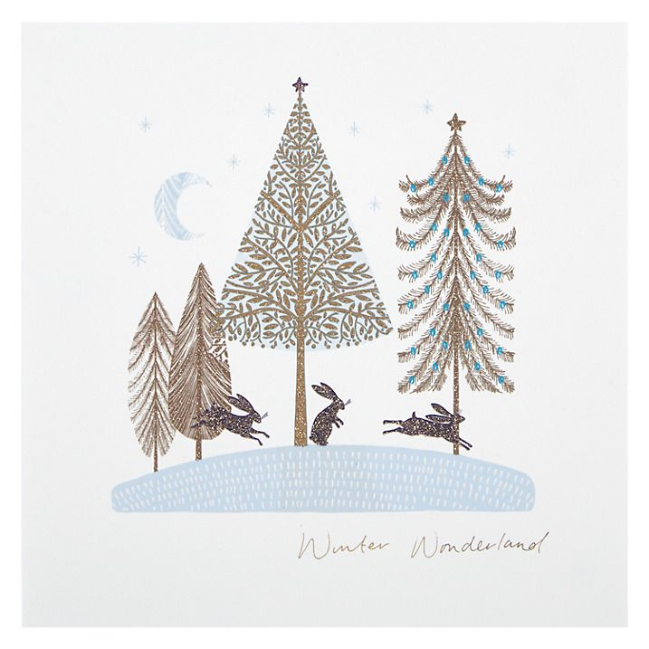 Designed by Amy Eastland - Woodmansterne Trees In Forest Christmas with rabbits. Scandinavian, glitter, flitter Card Online at johnlewis.com