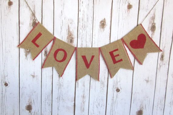 LOVE Burlap Sign / Rustic Wedding Banner Sign / by WootandWooks