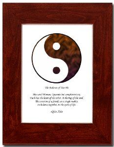 "5x7 Red Mahagony Frame with Yin Yang (Brown/White) by Oriental Design Gallery. $31.95. Each print is mounted on acid-free mat board by using acid free adhesive. Made in USA. Frame is made of eco-friendly composite wood materials. Easel and hangers included. Wall Hangers must be installed by customer. Instructions included. Place on Wall or Desk. This is a Yin Yang Print with an original Chinese Proverb written by Qiao Xiao. The proberb is entitled ""The Balance of Tiao He"", the p..."