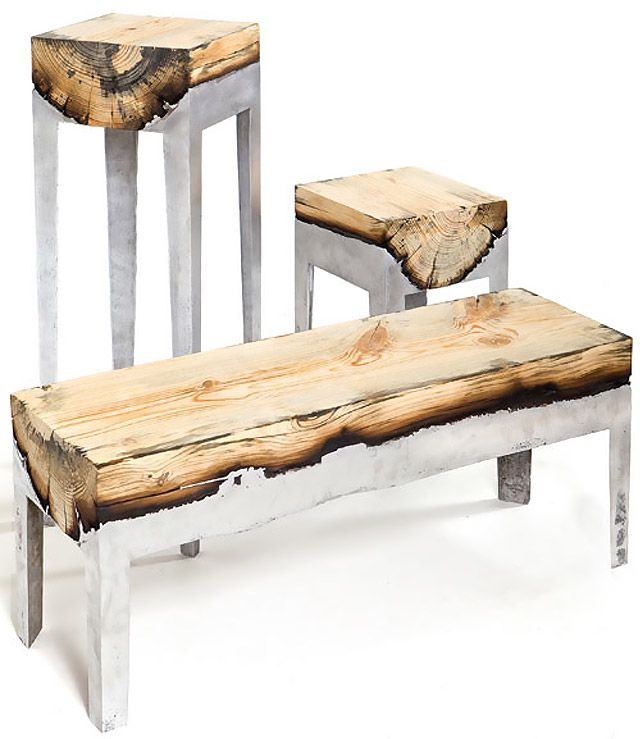 "Hilla Shamia has blended metal and wood beautifully in this unique range of furniture. ""The negative factor of burnt wood is transformed into aesthetic and emotional value by preservation of the natural form of the tree trunk, within explicit boundaries."""