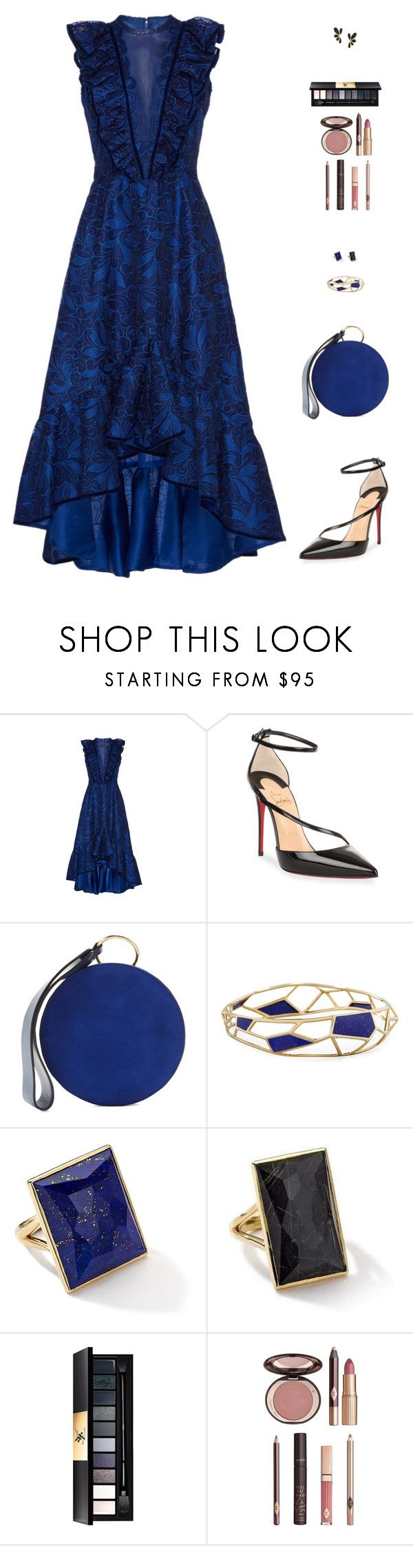 """""""Untitled #5058"""" by mdmsb on Polyvore featuring Costarellos, Christian Louboutin, Diane Von Furstenberg, Ippolita, Yves Saint Laurent and Charlotte Tilbury"""