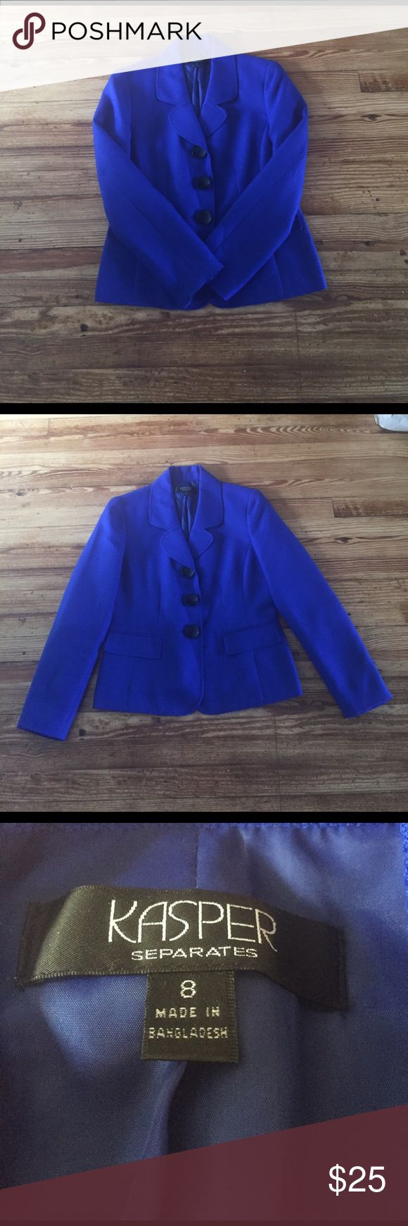 Royal Blue Kasper Blazer Royal Blue 3 Button Blazer with two fake pockets. Material and Laundry instructions photos listed. Snags. Kasper Jackets & Coats Blazers