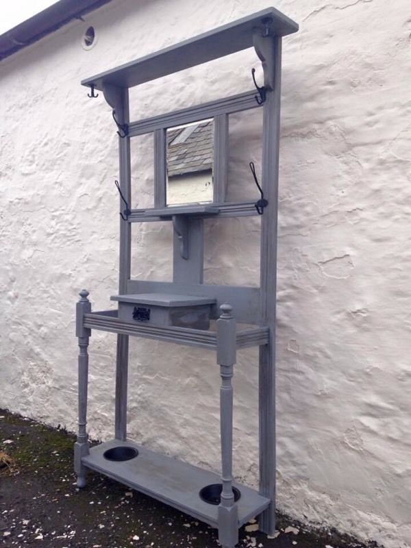 Upcycled vintage Victorian hall stand, a unique piece of furniture painted in Anthracite chalk paint
