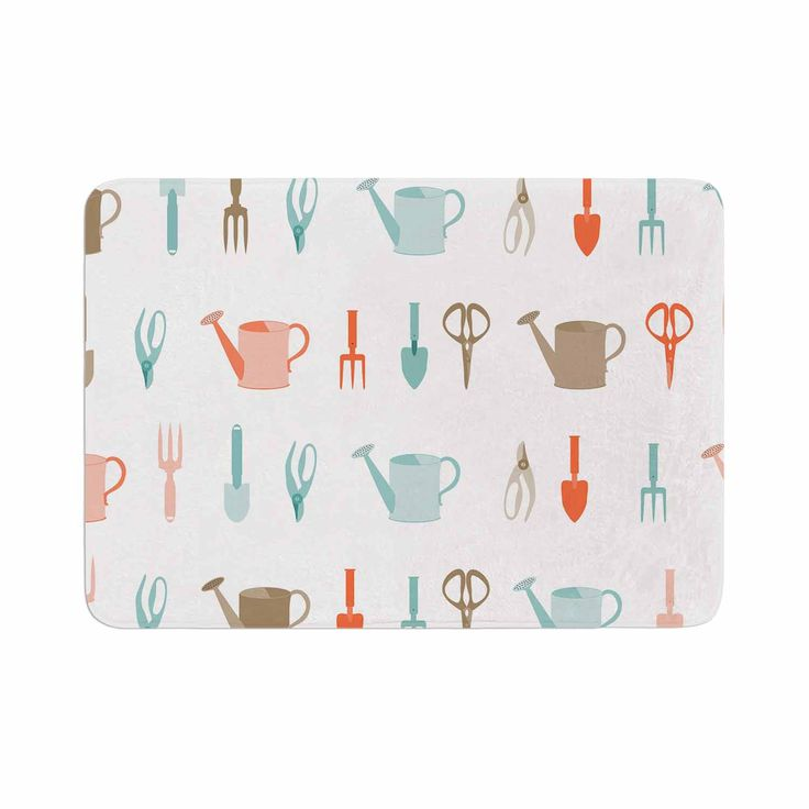 """afe images """"Gardening Tools Pattern"""" Teal Abstract Memory Foam Bath Mat"""