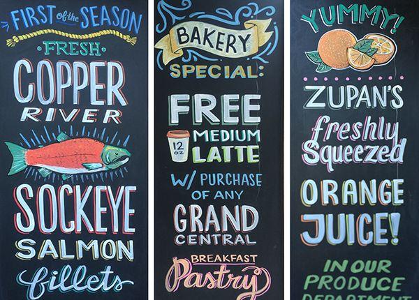 Zupan's Weekly Chalkboards by Mel Larsen, via Behance