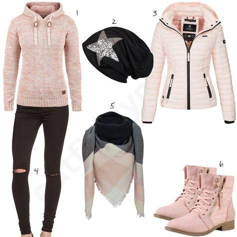 Rosa-Schwarzes Damen-Outfit mit Strick-Hoodie (w0645)