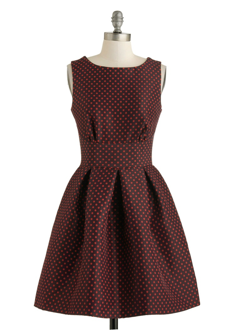 Aint We Dot Fun? Dress - Mid-length, Red, Blue, Polka Dots, Cutout, Exposed zipper, Party, Fit & Flare, Sleeveless, Boat, Vintage Inspired, 60s