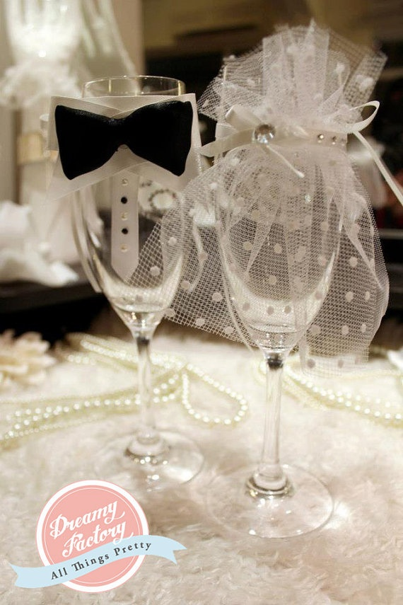Custom Couple Champagne Glasses Flute Bride & by DreamyFactory, $50.00