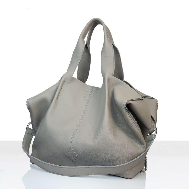 Torba worek - tote bag,wykonana ze skóry naturalnej bydlęcej o strukturze