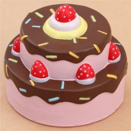 Vlampo cute happy birthday cake brown icing squishy