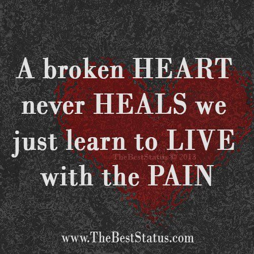 Broken Heart Status On Facebook | broken heart never heals we just learn to live with the pain