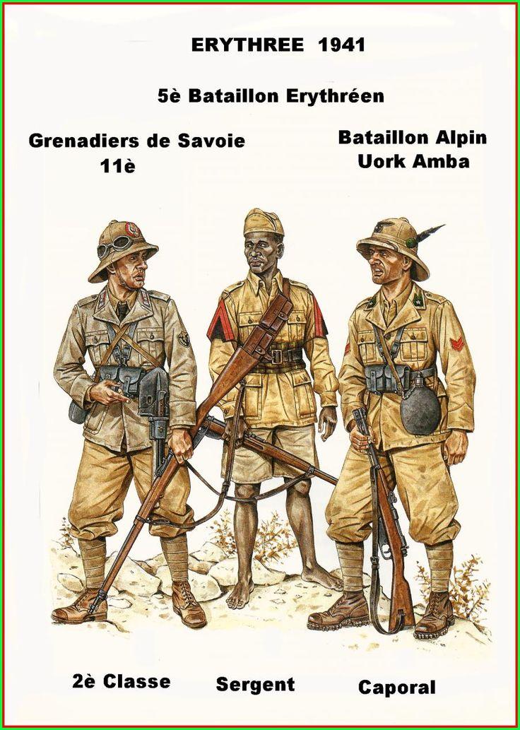 """Regio Esercito - Eritrea, 1941 - Soldato semplice 11° Granatieri di Savoia - Sergente del 5° Battaglione Eritreo - Caporale del battaglione Alpino """"Uork Amba"""""""