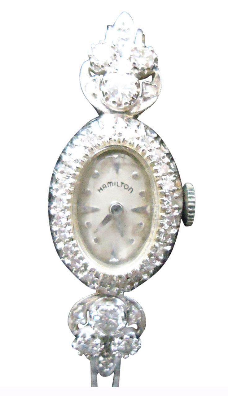 Ladies 14K White Gold and Diamond Dress Watch, Hamilton Watch Company, Lancaster, Pa., ca. mid-20th century