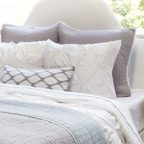 Bedroom inspiration and bedding decor | The Reversible Pick-Stitch Light Grey Quilt & Sham Duvet Cover | Crane and Canopy