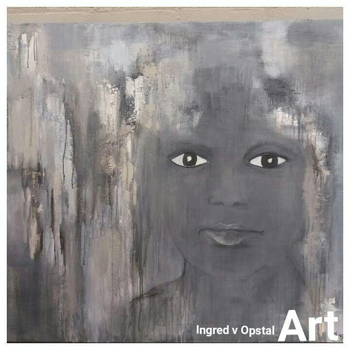 Portret kind, schilderij van Ingred V Opstal | Abstract | Modern | Kunst