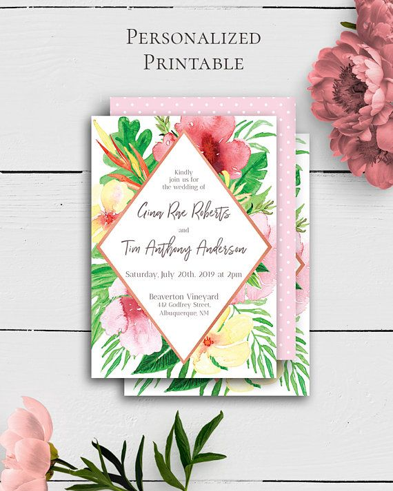 Printable Tropical Invitation with charming and colorful floral design in exotic style by Amistyle Digital Art on Etsy